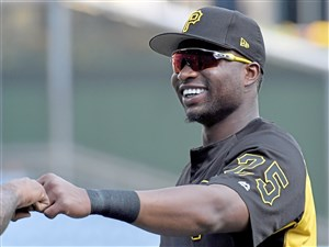 Pirates right fielder Gregory Polanco greets teammates during batting practice Aug. 2 at PNC Park.