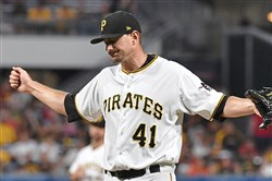 The Pirates' Daniel Hudson reacts after his outing Aug. 2 against the Cincinnati Reds.