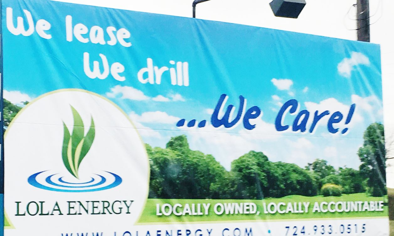 4308 A billboard for Lola Energy in Waynesburg off the exit from Interstate 79.
