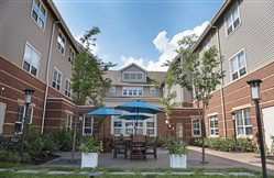The courtyard at the AHAVA Memory Care Residence at The Jewish Association on Aging in Squirrel Hill.