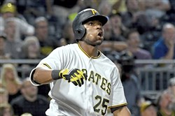 Gregory Polanco watches his ball after hitting a three-run home run against the Padres in the seventh inning Aug. 4 at PNC Park.