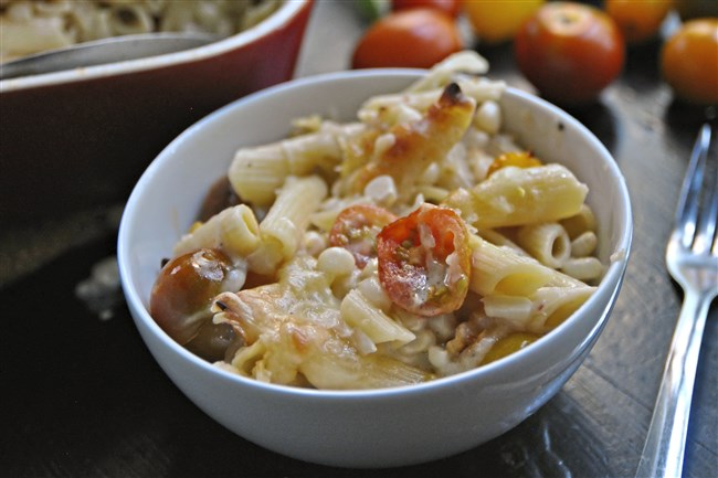 Creamy Corn and Tomato Pasta Bake is a great side for a barbecue.