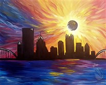 This painting was created for upcoming Painting with a Twist classes around Pittsburgh by I Leah Keilman of the Robinson Painting with a Twist.  Attendees of the Pittsburgh Eclipse classes will get step-by-step instruction in recreating it.