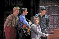 "From left, Martin Kaye as Jerry Lee Lewis, Billy Finn as Carl Perkins, James Snyder (seated) as Elvis Presley and Derek Keeling as Johnny Cash gather for a famous pose in Pittsburgh CLO's ""Million Dollar Quartet."