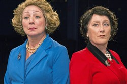 "Patricia Cena Fuchel as Margaret Thatcher and Allison Cahill as Queen Elizabeth II in Little Lake Theatre's ""The Audience,"" through Aug. 26 at the North Strabane theater."