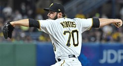 The Pirates' George Kontos pitches against the Detroit Tigers in the eighth inning Aug. 7 at PNC Park.