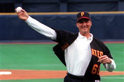 Mario Lemieux throws out the first pitch at the Pirates' 1998 home opener at Three Rivers Stadium.