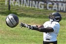 Chris Hubbard tosses a medicine ball during afternoon practice Wednesday at Saint Vincent College in Latrobe.