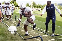 Penn State running back Saquon Barkley goes through a drill during a practice session earlier this month in University Park, Pa. Barkley, who rushed for nearly 1,500 yards in 2016 might be even stronger and quicker this season.