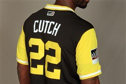 "Andrew McCutchen models the Pirates' Players Weekend jersey, featuring his ""Cutch"" nickname, in this promotional photo."