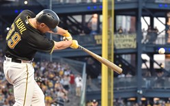 Pirates Chad Kuhl gets his first two RBIs with a single against the Tigers in the fourth inning.