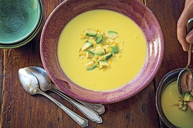"This chilled corn soup from ""V is for Vegetables"" by Michael Anthony is made with corn stock and coconut milk."