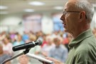 Bob Milacci, a former South Fayette commissioner, spoke in favor of the proposed construction of a UPMC hospital at the Newbury Market complex during the public hearing of a board of commissioners meeting in August at the South Fayette Area Senior Citizens Center.