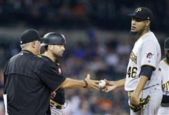 Right-hander Ivan Nova is removed from his last start in Detroit.