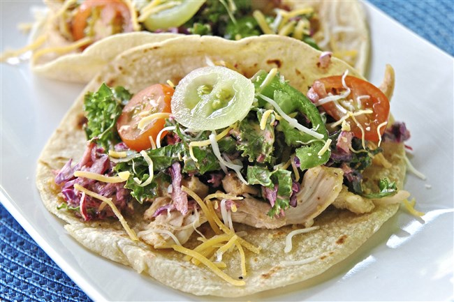 Shredded Chicken Tacos with Chipotle Kale Slaw adds spice to summer.