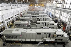 In this 2011 photo, General Electric Evolution Series locomotives being assembled in Building 10 at GE Transportation in Lawrence Park Township, Erie County.
