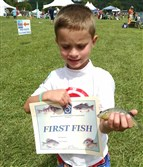 Overcast skies and moderate temperatures made for good fishing during the annual Regatta at Lake Arthur, Aug. 5-6 at Moraine State Park, Butler County. Caden Bailey, 6, of East Liverpool, Ohio, caught his first fish, a sunfish. The park provided rods and tackle for the family fishing activity, and live bait was donated by Ed Vaccari of Tackle Unlimited in Jefferson Hills.