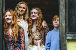 "Ella Anderson, left, as young Jeannette, Naomi Watts as Rose Mary Walls, Sadie Sink as young Lori, Eden Grace Redfield as youngest Maureen, and Charle Shotwell as young Brian in ""The Glass Castle."""
