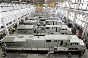 This photo taken Sept. 15, 2011, shows General Electric Evolution Series locomotives being assembled in Building 10 at GE Transportation in Lawrence Park Township, Erie County, Pa.