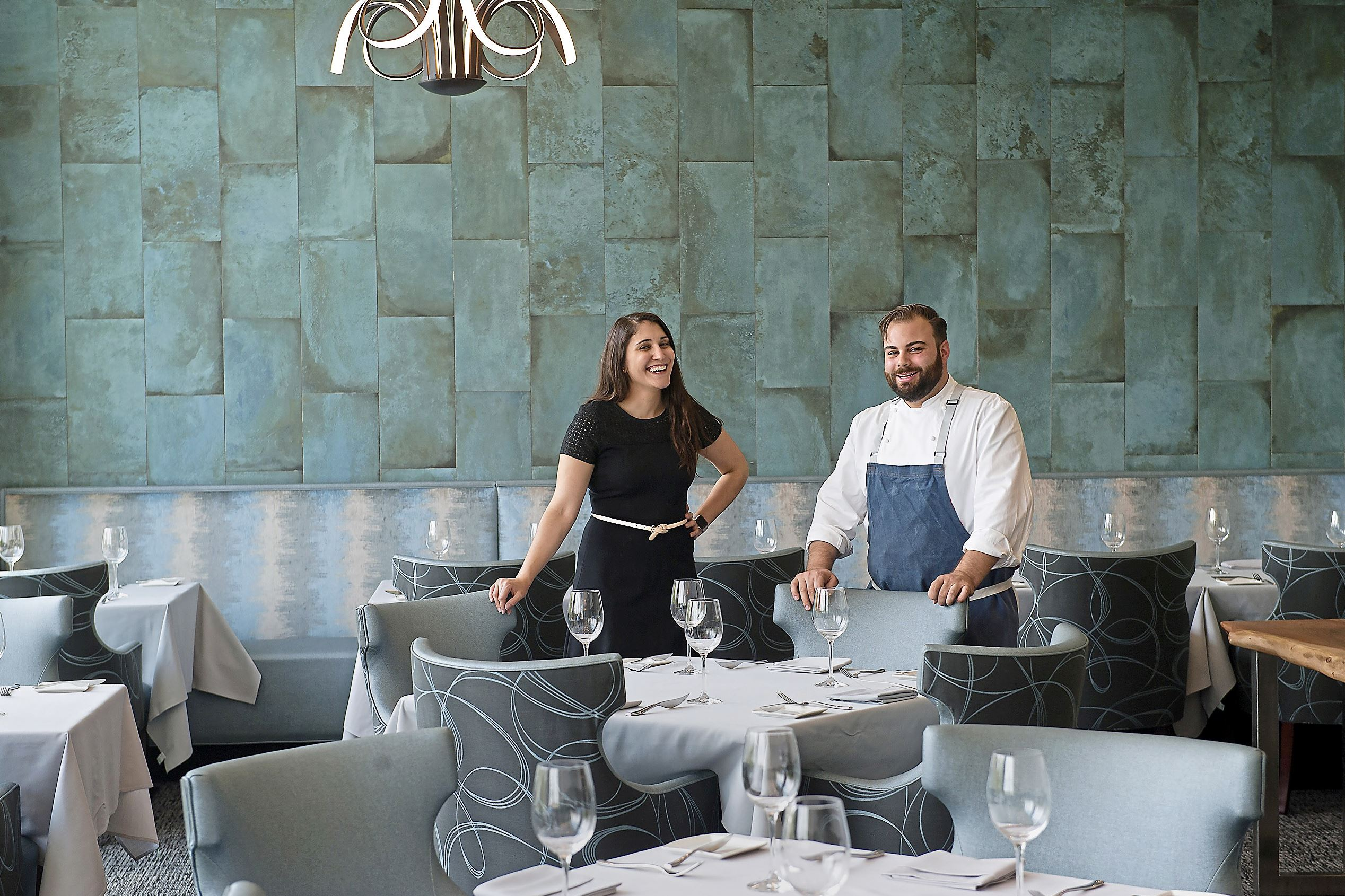 20170811rldTwistedFrenchman03-2 Vanessa Cominsky, assistant general manager and sommelier, and Andrew Garbarino, chef and proprieter, of the Twisted Frenchman in East Liberty.