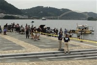 "Crews film a scene for the show ""Gone"" at Point State Park in Pittsburgh on Monday, Aug. 14, 2017."