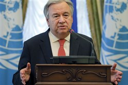 "FILE - In this Sunday, July 9, 2017, file photo, United Nation Secretary-General Antonio Guterres speaks during a joint press conference with Ukrainian President Petro Poroshenko in Kiev, Ukraine.  Guterres warned Wednesday, Aug. 16, 2017, that tensions on the Korean peninsula are at their highest level in decades and said it's important ""to dial down the rhetoric and to dial up diplomacy."" The U.N. chief told reporters the world needs to heed the lessons of history and not repeat the mistakes that led to the Korean War, which started 67 years ago and killed more than three million people. (AP Photo/Efrem Lukatsky, File)"