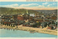 "An undated post card shows  ""Bird's eye view of business section, McKeesport, Pa."""