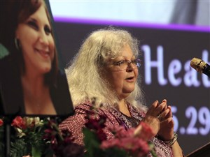 Susan Bro, mother to Heather Heyer, speaks during a memorial service for her daughter on Aug. 16 in Charlottesville, Va.