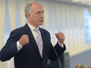 U.S. Sen. Bob Casey talks about the unfair trade deals during a forum with Pittsburgh labor, environmental and community leaders, at the United Steel Workers building Downtown, Wednesday.