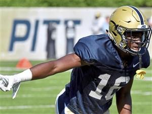 Pitt freshman cornerback Damarri Mathis goes through drills during practice Wednesday on the South Side.