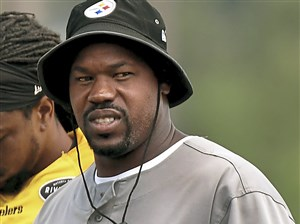 Outside Linebackers Coach Joey Porter during afternoon practice Wednesday at Saint Vincent College in Latrobe.