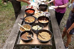 Three Rivers Dutch Ovens provided a variety of food for sampling at a recent demonstration at Linn Run State Park in Rector.