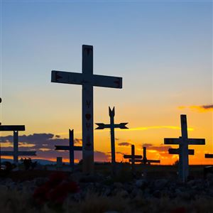 The St. Stephen's Arapaho Catholic Cemetery in St. Stephens, Wy. where the remains of Northern Arapaho children, disinterred from the Carlisle Barracks Indian Cemetery in Carlisle, Pa., have been reburied.