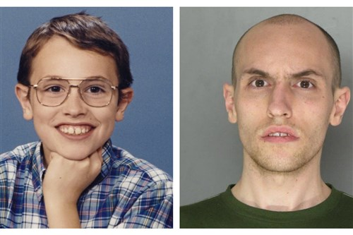 Levi Staver, as a boy and after being charged with killing his grandmother in 2013.