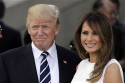 President Donald Trump, left, and first lady Melania Trump.