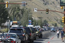 JACKSON, WY - AUGUST 20: Traffic clogs the main road on August 20, 2017 in Jackson, Wyoming. People are flocking to the Jackson and Teton National Park area for the 2017 solar eclipse which will be one of the areas that will experience a 100% eclipse on Monday August 21, 2017.  (Photo by George Frey/Getty Images)
