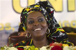 In this 2016 file photo, Zimbabwean first lady Grace Mugabe attends a ruling ZANU PF Party Conference in Masvingo, Zimbabwe.