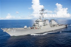 This image released by the U.S. Navy shows the Arleigh Burke-class guided-missile destroyer USS John S. McCain on June 14 in the Pacific Ocean.