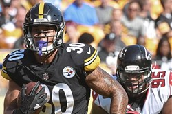 Steelers running back James Conner played the entire second half Sunday at Heinz Field against Atlanta and gained 98 yards on 20 carries.