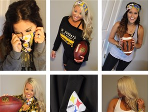 Pittsburgh-based designer Kiya Tomlin teamed with Neighborhood Ford Store to design a unisex Yowie -- a versatile infinity-style scarf that can be worn lots of different ways by Steelers fans.