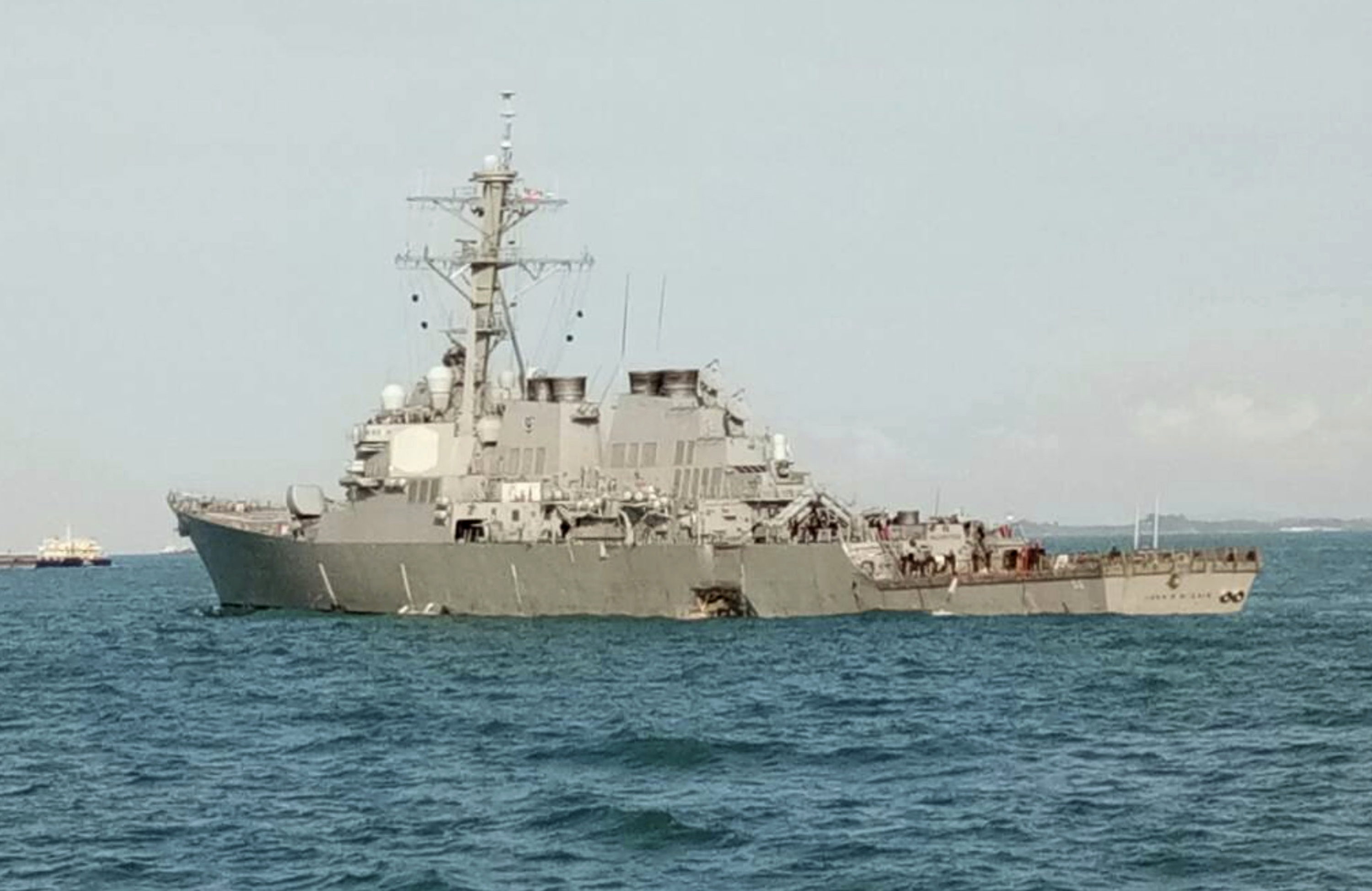 Malaysia Singapore US Navy Ship Collision In this photo released by the Royal Malaysian Navy, the U.S guided-missile destroyer USS John S. McCain is seen after a collision, off Johor, Malaysia, Monday, Aug. 21, 2017. A number of U.S. sailors were missing after a collision between the USS John S. McCain and a tanker early Monday east of Singapore, the second accident involving a ship from the Navy's 7th Fleet in the Pacific in two months. (Royal Malaysian Navy via AP)