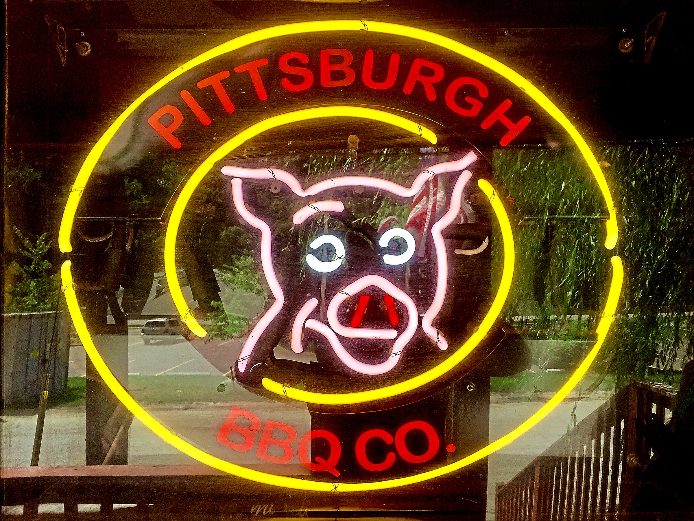barbeque pittsburgh neon sign-1 The neon sign in the window of the Pittsburgh Barbecue Co. in Banksville.