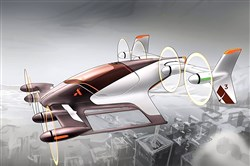 A depiction of a Vahana self-piloted aircraft.
