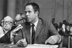 "H.R. ""Bob"" Haldeman testifies before Congress about the Watergate scandal in 1973."