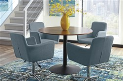 A retro-modern dining group from Scott Living's Montoya Collection has a walnut veneered table and adjustable-height upholstered chairs.