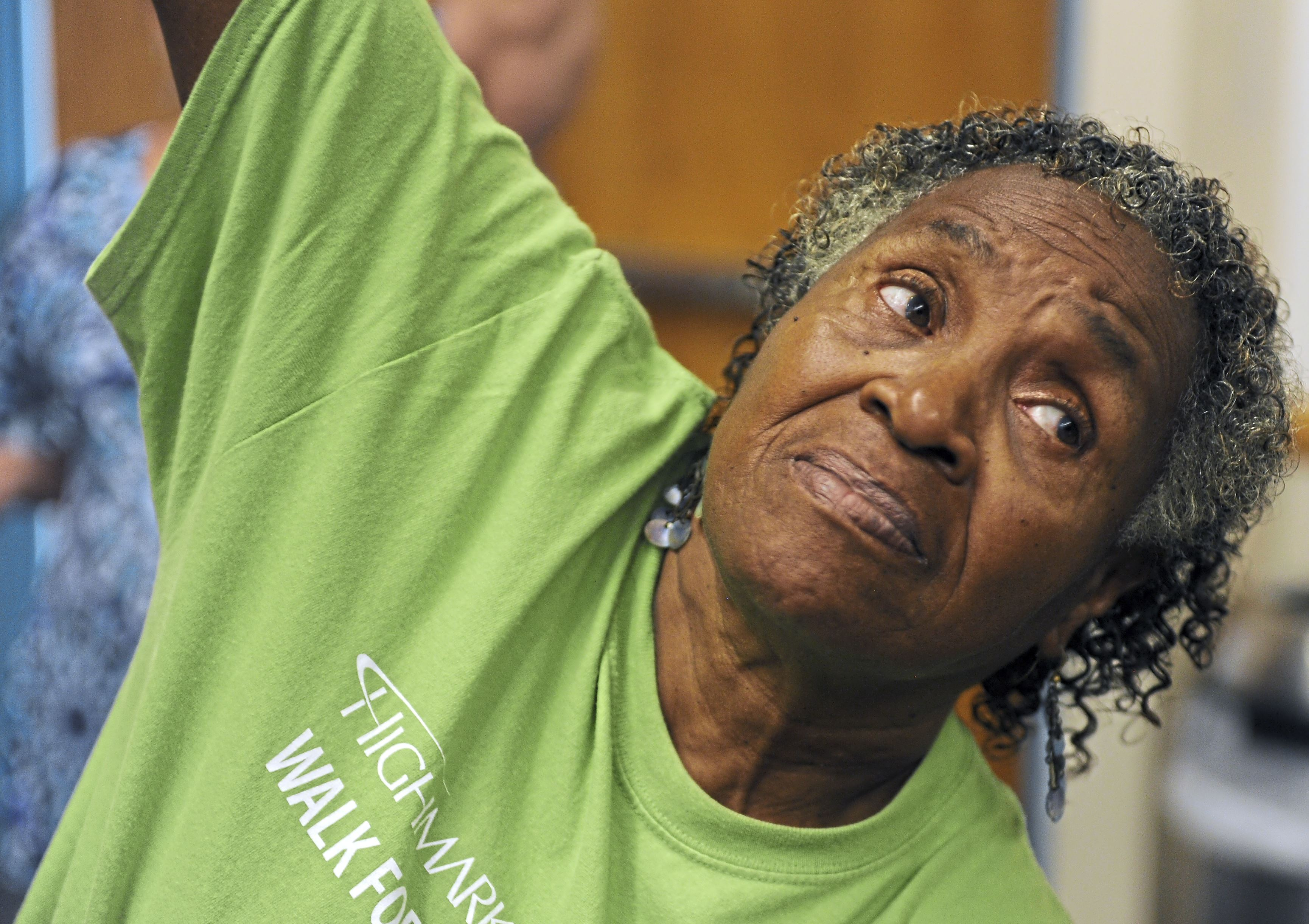 20170830ng-JCCYoga3-2  Joyce Hough of Oakland participates in the Silver Sneakers Yoga at the Jewish Community Center of Greater Pittsburgh in Squirrel Hill.