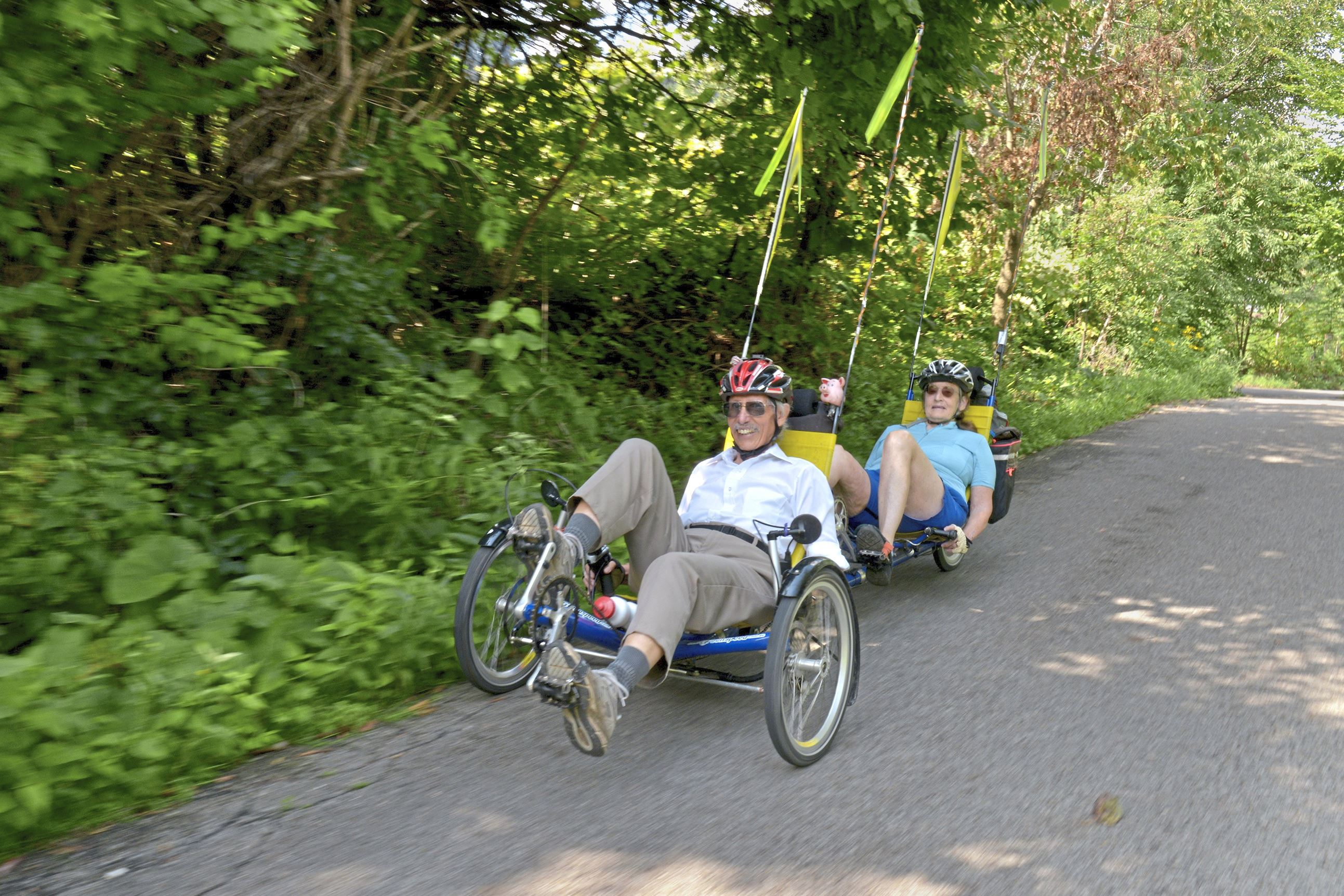 20170825ppSrBikers1NEXT Roy Weil and Mary Shaw cruise along on their tandem recumbent cycle along the Three Rivers Heritage Trail.