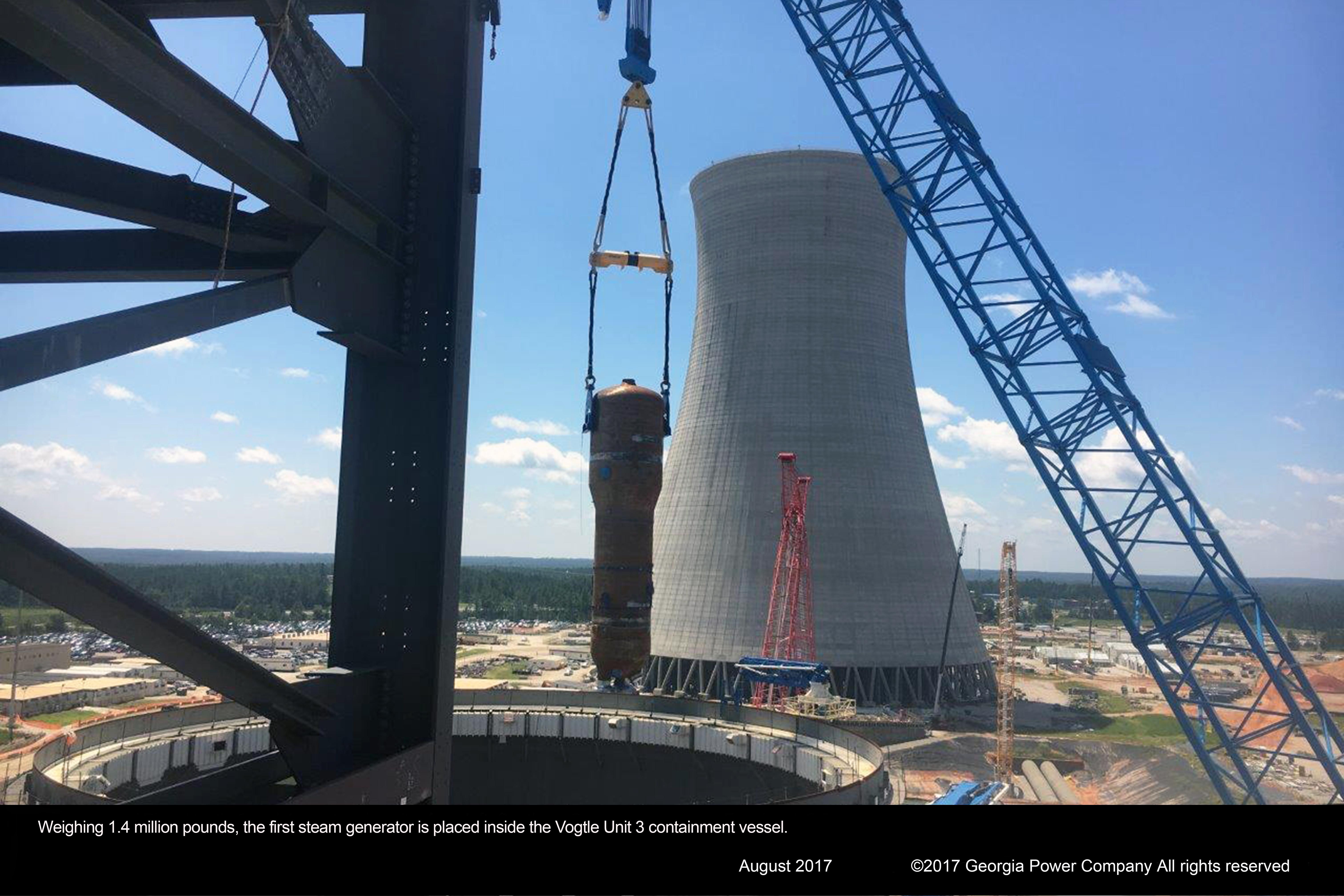 Vogtle_generator Construction at Plant Vogel near Waynesboro, Georgia in August 2017.
