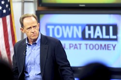 Sen. Pat Toomey holds a town-hall meeting at the WLVT / PBS 39-TV studios, Thursday, Aug. 31, 2017 in Bethlehem, Pa.