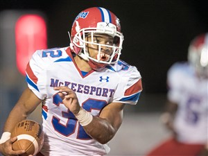 McKeesport senior Carlinos Acie helps fuel the Tigers' strong running game. McKeesport plays Gateway on Friday in the Post-Gazette Game of the Week.